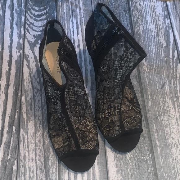 Black Lace Peeptoe Booties Size